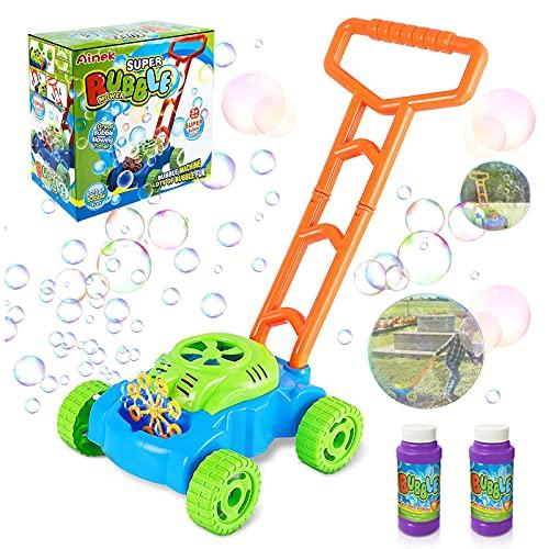 Bubble Machine per Bambini,Bubble Machine tagliaerba Bambini,Tagliaerba Giocattolo da Bambino,tagliaerba Bolle di Sapone Bambini,Giocattolo per Bambini da Spingere,Forma di Tagliaerba (A)