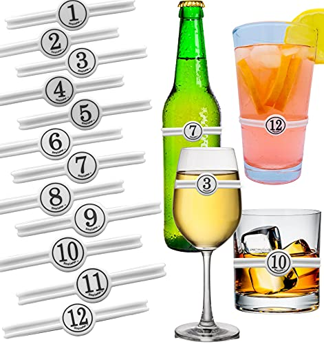 SimplePax Drink Markers- 24 Number Pieces Included, Drink Markers for Glasses, Bottles Kids Cups, Silicone Wine Charms for Stemless Glasses, Wine Glass Markers Charms, DIY Mark Your Own Water Bottles ...