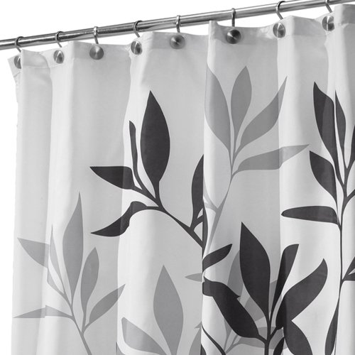 Price comparison product image iDesign Leaves Shower Curtain,  Polyester Bathroom Curtain With Leaf Motif,  Black / Grey