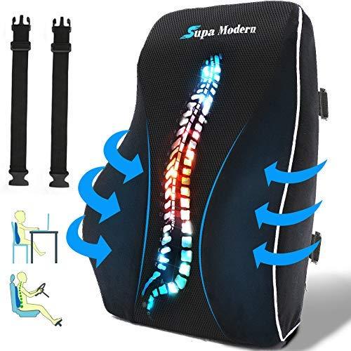 Lendenwirbelstützkissen für Bürostuhl, Rückenkissen aus Memory-Schaum zur Schmerzlinderung im unteren Rücken, Autositz-Rückenkissen mit Massage-Ball, atmungsaktiv, Aktualisiertes Luxry Schwarz