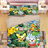 Juego de ropa de cama Pokemon Pikachu, funda de edredón y funda de almohada, microfibra, impresión digital 3D, juego de cama de tres piezas Funda Nórdica Pikachu Anime (B12,135 x 200 cm-Cama 90cm)