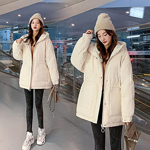 YHWW Chaqueta de Plumas,Winter Women Parkas Slim Hooded Thicken Jackets Female Warm Padded Coat Ladies Fashion Outwear Black Jacket Parkas,Beige,M