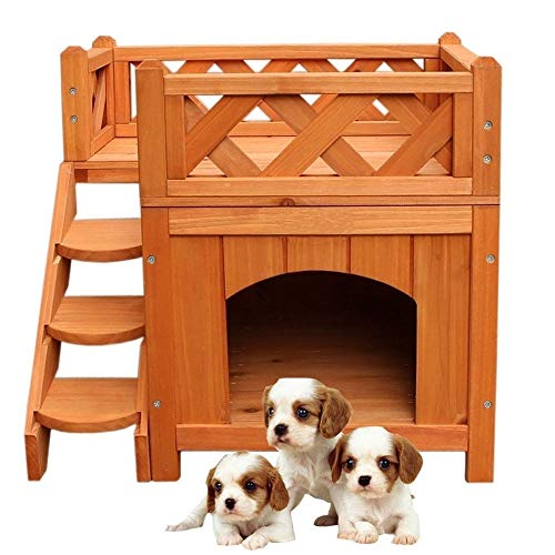 KCHEX 2 Layers Confidence Pet Wooden Dog House Living House Kennel with Balcony Wood Color