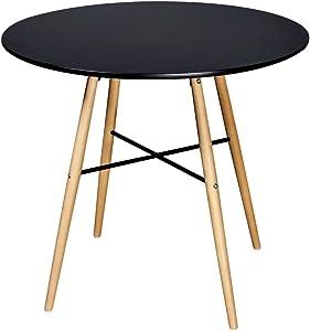 vidaXL Table de Salle à Manger Ronde Noire Matte Table de Cuisine en MDF et Bois