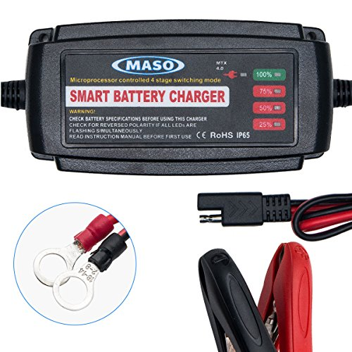 Car Battery Charger Trickle 12V Fast Charge - MASO 5 Amp Lead Acid Battery Car Smart Battery Charger Conditioner for Motorcycle Boat, Camper, Caravan Marine, Motorhome