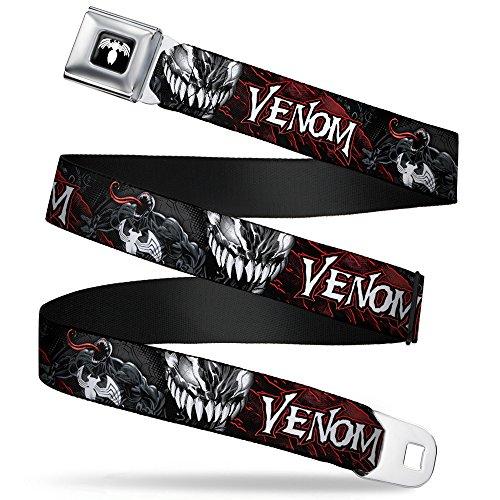 Cinturón de seguridad con hebilla – VENOM Pose/Expression Gris/Negro/Rojo/Blanco – 1.0 pulgadas de ancho – 20-36 pulgadas de longitud