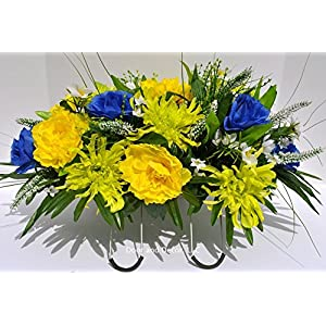 Spring and Summer Cemetery Headstone Saddle Flower Arrangement with Yellow, Blue, and Green Flowers