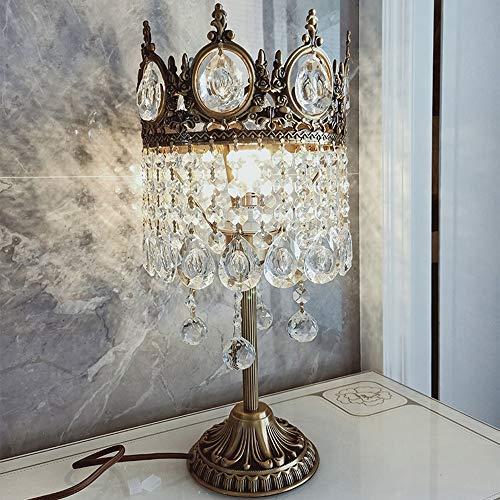 Hogreat Smart led Lámpara de Estilo Europeo de Lujo lámpara de Mesa de Cristal Dormitorio mesita de Noche lámpara Sala de Estar Palacio Villa Princesa Completa Cobre lámpara de Mesa 20 * 45 cm