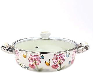 SHYOD Casserole - Enamel Pot Noodle Soup Pot Thick Enamel Milk Pot Induction Cooker Stainless Steel Binaural Home Stockpot...