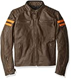 Joe Rocket Classic 92' Men's Leather Jacket (Brown/Orange, Medium)