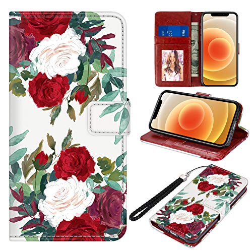 """Designed for iPhone 12 Mini Wallet Case PU Leather Folio Flip Protective Cover Red White Rose Flowers Floral Magnetic Credit Card Holder with Hand Strap Kickstand Women Girls for iPhone 12 Mini 5.4"""""""