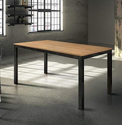 Milani Home s.r.l.s. Tavolo da Pranzo Moderno di Design Allungabile Cm 80 X 140 200 Rovere Struttura Nera Piano Naturale per Sala da Pranzo