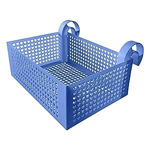Cesta De Almacenamiento De Piscina con Marco Caja De Rack Colgante Contenedor De Gran Capacidad para Almacenar Todo Tipo De Mercancías – Azul 40x28x15Cm