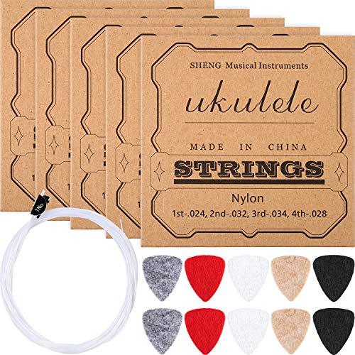 5 Juegos de Cuerdas de Ukulele de Nylon con 10 Púas de Fieltro de Ukulele para Soprano (21 Pulgadas)/ Concierto (23 Pulgadas)/ Tenor Ukulele (26 Pulgadas)