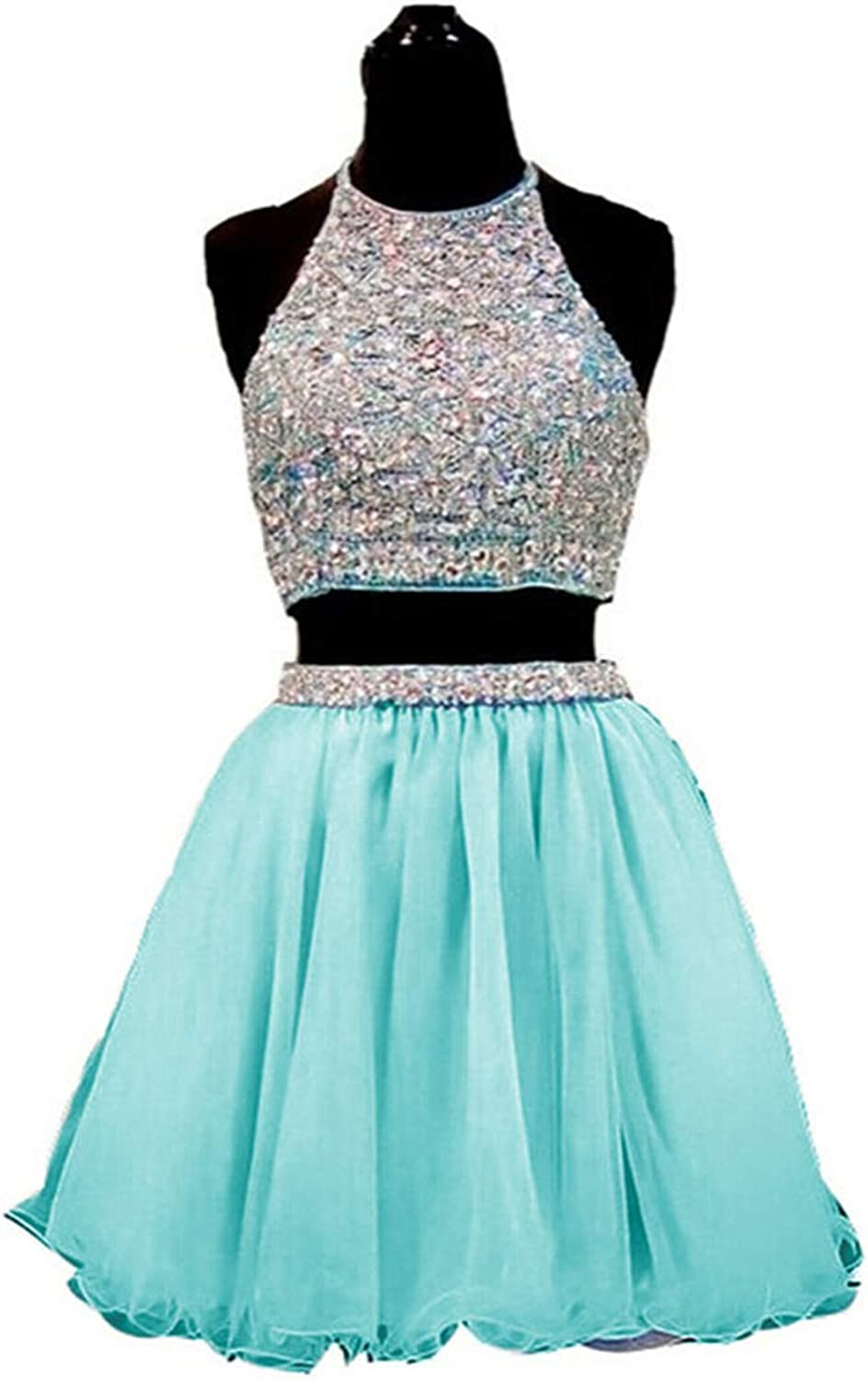 Fanciest Women's Crystal Short Homecoming Dresses 2016 Junior Two Piece Gowns
