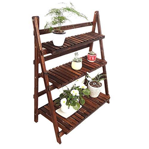 Support à plantes à 3 niveaux, présentoir à fleurs pliant en bois pour la maison (taille : 80x37)