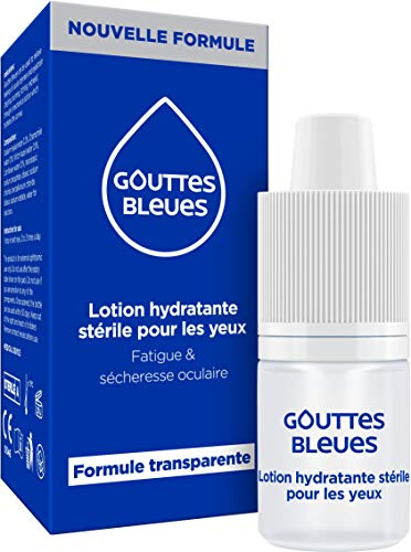 Gouttes Bleues - LOTION HYDRATANTE STERILE POUR LES YEUX - Fatigue - Sécheresse Oculaire - 10 ml