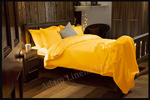 Adams Linens 100% Cotton Brushed Thermal Flannelette Duvet Cover with pillowcases Mustard (Single)