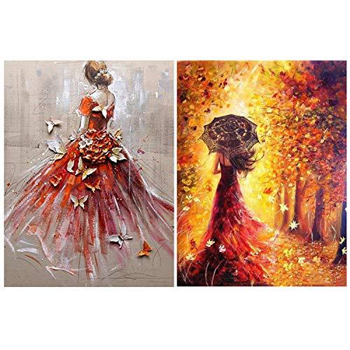 2 Packungen DIY 5D Diamant Malerei Kits Vollbohrer,Rotes Hochzeits Schmetterlingsmädchen und -mädchen unter dem Baum DIY Stickerei Diamant Painting Diamond Home Wall Dekoration(40*40cm&30*40cm)