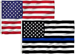 TOWEE USA Flag Thin Blue Line Thin Red Line Flag, 3 Pack 3x5 Ft 100% Polyester US Stars and Stripes America Thin Blue Line Thin Red Line Flags Bright Color American Flags for Christmas and Halloween