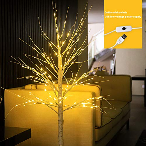 ZQWE Illuminated Tree, Lighted Tabletop Birch Tree, Plastic Sequins Twig Branch Birch for Home Party Holiday Decoration, Trees Lights Christmas, Easter (180cm)