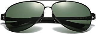 Fashion Black/Green Lens Black Frame Men and Women with The Same Driving Sunglasses Trendy Versatile Polarized New PC Material Sunglasses Retro (Color : Green)