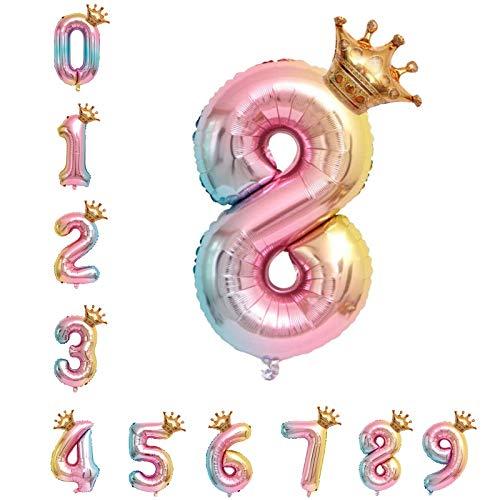 40 Zoll 0 - 9 XXL Regenbogen Zahlen Folien Luftballon, 100 cm Riesenzahl 8 Jahr Geburtstagsdeko Ballon, Luftballon Rosa Ballons für Junge Mädchen Geburtstag, Hochzeit, Jubiläum Party Dekoration