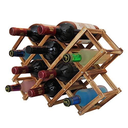 Foldable Wooden Wine Bottle Holder - Natural Wine Shelves - 8 Slots - Holds 10 Wine Bottles, Wine Rack by MUGLIO