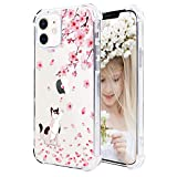 "Hepix Compatible with iPhone 12 Mini Case Floral for Girl Women iPhone 12 Mini Case Cat Cute Clear Animal TPU Cover Bumper Anti-Scratch Camera Protection for 12 Mini 5.4"" Pink Flower Cherry Blossom"