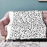 Lussatite Flannel Blanket with Pompom Fringe Dalmatian Print Throw Blanket Flannel Throw Soft Bed Blanket Lightweight Microfiber 50 x 40 Inches