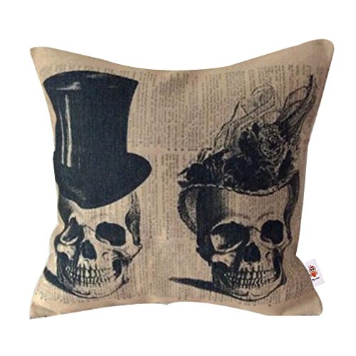 Nunubee Kissenbezug Punk Halloween Festival Love The Skulls Cushion Party Couch als Deko, 45 * 45cm