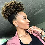 Image of Themis Hair Afro Kinky Curl Synthetic High Puff Drawstring Short Ponytail with Clip in Color T1B/27#