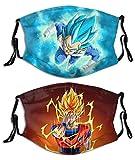 2 unids Anime Dragon Goku Vegeta con filtro cara cubierta reutilizable bandana lavable bufanda para hombres mujeres adolescentes adultos