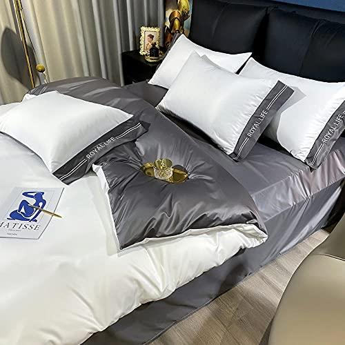 funda nordica cama 180,Lavar la seda de cuatro piezas de cuatro piezas de seda de seda viento rosa seda de seda ropa de cama-Esconder_1,5 m de cama (envasado para 200 * 230 edredones) 4 sets