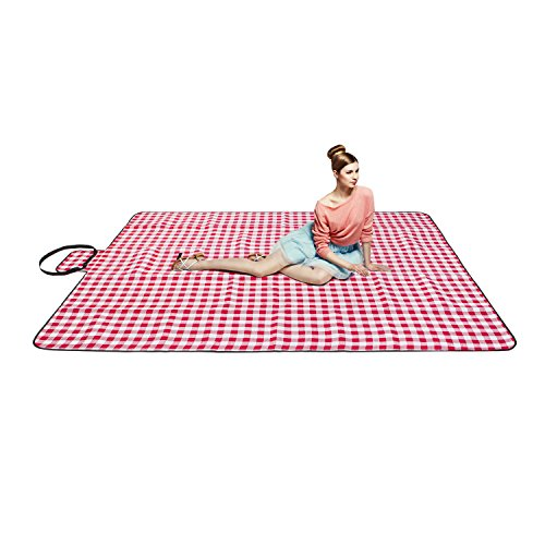 chuanyuekeji Extra Large Picnic amp Outdoor Blanket with Waterproof Backing 80quot x 90quot Red amp White
