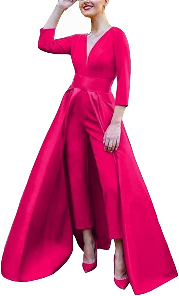 VeraQueen Women's V Neck 3/4 Long Sleeves Satin Jumpsuits with Detachable Skirt