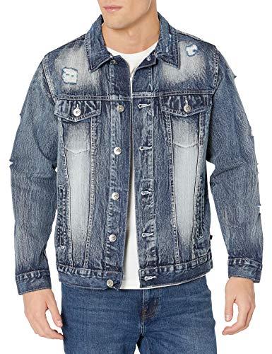 Southpole Men's Premium Fashion Denim Jacket, Ice Blue Ripped, X-Large
