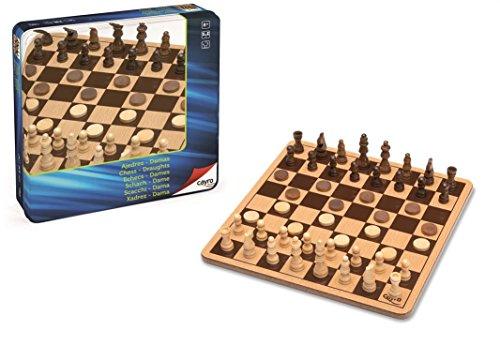 Cayro - Ajedrez y Damas de Madera Metal Box— Juego de observación y lógica - Juego Mesa - Desarrollo de Habilidades cognitivas e inteligencias múltiples - Juego Tradicional (751)