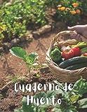 Cuaderno de Huerto: Diseñado para cultivar verduras y frutas en casa - Úsalo como diario, con espacio para tus tareas, alimentación, plantaciones, ... cosecha e !incluso páginas para tus recetas!
