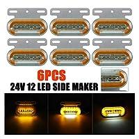 6ピース24V 12 LED車のトラックサイドマーカーライト車の外部ライト信号インジケーターランプ警告テールライト3モードトレーラーのローリー