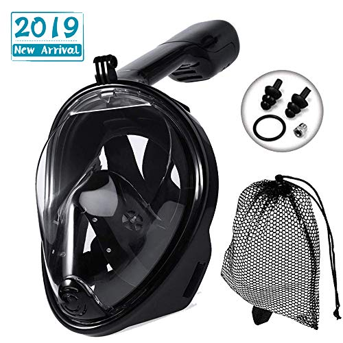 JRing Vollgesichts Schnorchelmaske, 180 Grad Anti-Fog Anti-Leak Easybreath Panorama Tauchmaske mit verstellbaren Kopfgurten und längerem Schnorchelrohr für Erwachsene und Kinder (Schwarz, L-XL)