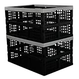 Hommp 2-Pack 40 L Plastic Collapsible Storage Crates, Large Stackable Storage Container Basket, Folding Crates Storage