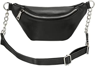 Fashion RFID Leather Waist Fanny Pack Chest Bag Phone Purse with Metalic Chain for Women Black (black)