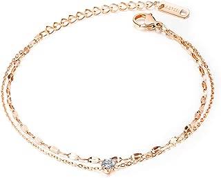 KELISTOM Rose Gold/Silver 316L Stainless Steel Bracelets for Women Girls with Black Velvet Storage Bag Two Layered Chain Zircon Charm Love Bracelet for Friendship Gifts Adjustable Length