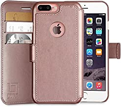 LUPA Wallet case for iPhone 7 Plus, Durable and Slim, Lightweight with Classic Design & Ultra-Strong Magnetic Closure, Faux Leather, Rose Gold, Apple 7 Plus