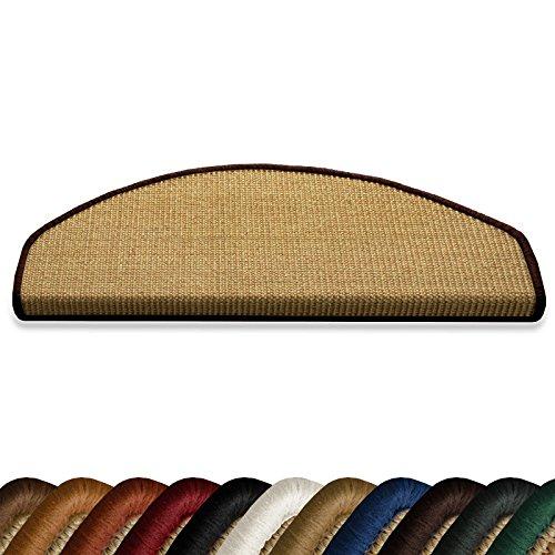 casa pura Kit de 15 marchettes escalier Demilune en sisal 100% Naturel | 11 Couleurs | 23,5 x 65 cm | Bordure Coton Marron