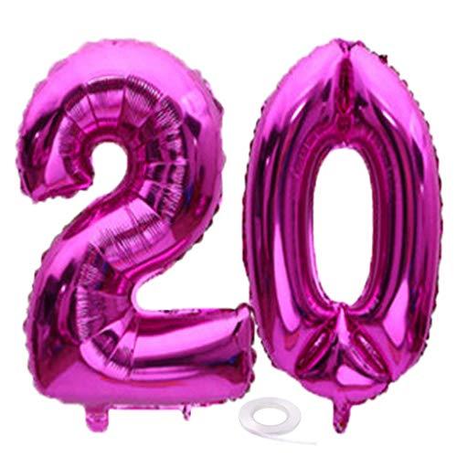 SNOWZAN Luftballon 20. Geburtstag Rose Mädchen Junge Zahl 20 Riesen Folienballon Helium Nummer 20 Luftballon Große Zahlen 20 Jahre XXL 20. Happy Birthday 32 Zoll Riese Zahl 20Geburtstag für Party