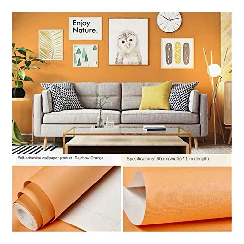 HDS Verdickte PVC-Selbstklebende Tapete Nordic Schlafzimmermöbel Erneuerungs selbstklebendes Papier reinweiß wasserdicht selbstklebend (Color : Orange 60cm 1 m)