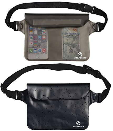 Freegrace Waterproof Pouch Set with Waist/Shoulder Strap - Best Way to Keep Your Phone and Valuables Dry and Safe - Perfect for Boating Swimming Snorkeling Kayaking Beach Water Parks (Black & Gray)