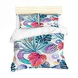 CDH Doble Tamaño Duvet Cover Set Elegante impresión de Las Flores Ultra Suave hipoalergénico y Transpirable de Microfibra,3,Queen90×90in